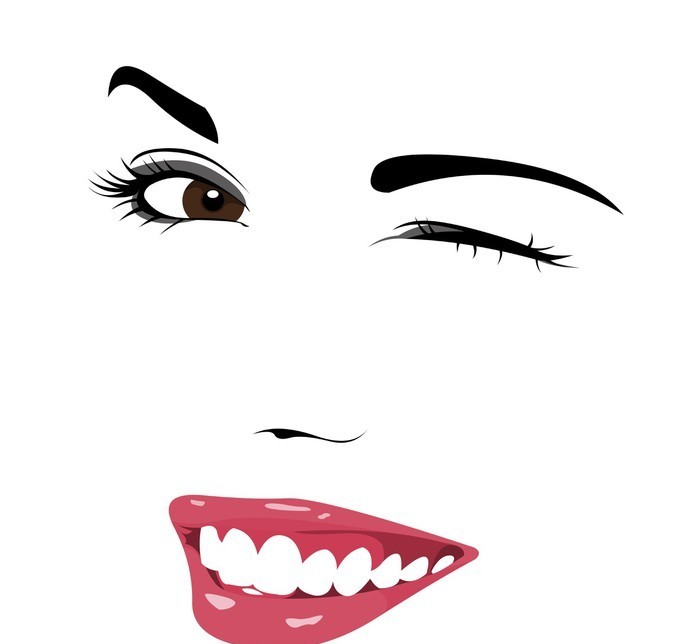 Beautiful girl wink vector.