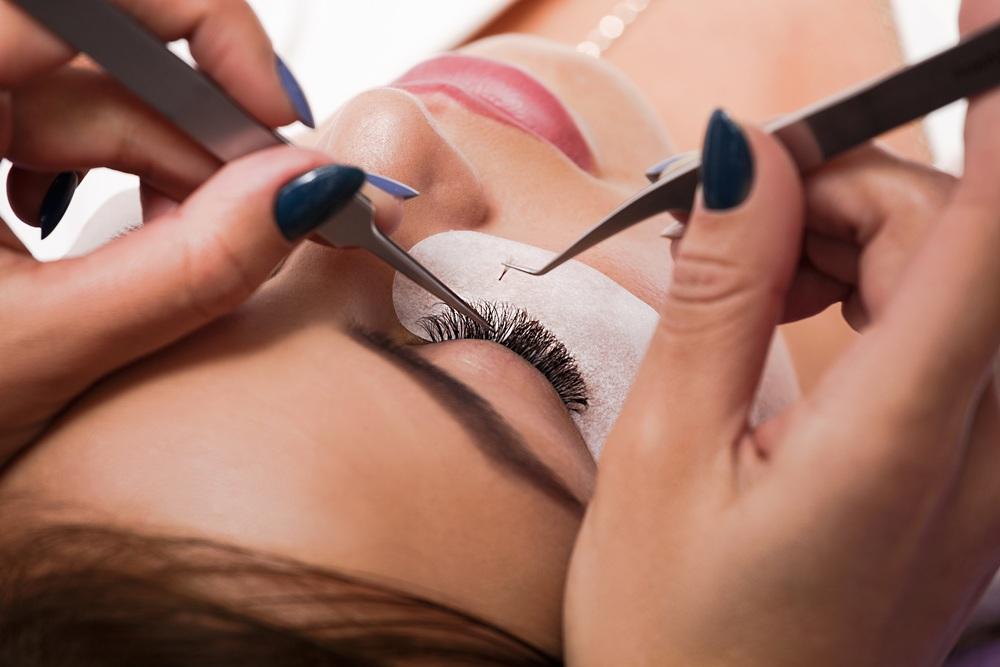 Beauty concept. Eyelash extension process